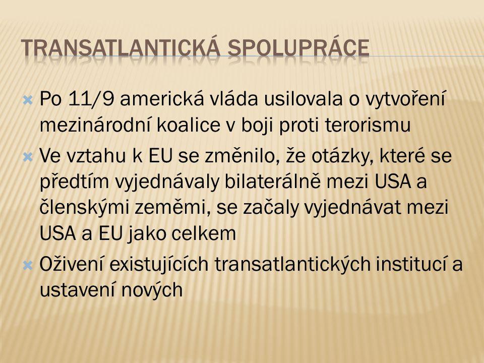  Po 11/9 americká vláda usilovala o vytvoření mezinárodní koalice v boji proti terorismu  Ve vztahu k EU se změnilo, že otázky, které se předtím vyjednávaly bilaterálně mezi USA a členskými zeměmi, se začaly vyjednávat mezi USA a EU jako celkem  Oživení existujících transatlantických institucí a ustavení nových