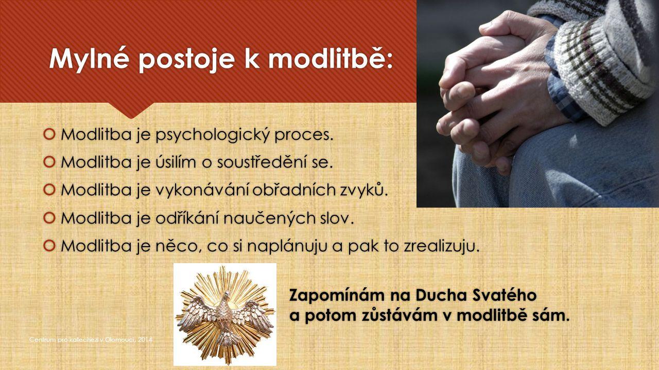 Modlitba je tajemství Centrum pro katechezi v Olomouci, 2014  které mě vždycky bude překračovat  a které nikdy plně nepochopím Často se nám zdá neužitečná, že nevede k nějakému úžasnému výkonu, natož k úspěchu.