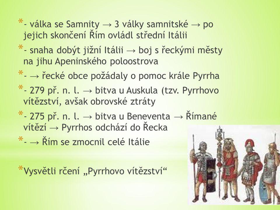 * - válka se Samnity → 3 války samnitské → po jejich skončení Řím ovládl střední Itálii * - snaha dobýt jižní Itálii → boj s řeckými městy na jihu Ape