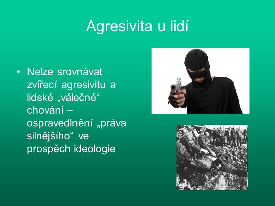 """Agresivita u lidí Nelze srovnávat zvířecí agresivitu a lidské """"válečné"""" chování – ospravedlnění """"práva silnějšího"""" ve prospěch ideologie"""