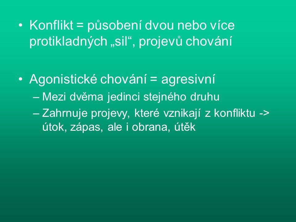 """Konflikt = působení dvou nebo více protikladných """"sil"""", projevů chování Agonistické chování = agresivní –Mezi dvěma jedinci stejného druhu –Zahrnuje p"""