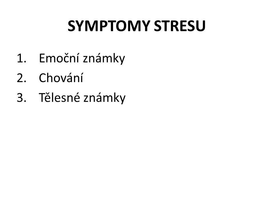 SYMPTOMY STRESU 1.Emoční známky 2.Chování 3.Tělesné známky