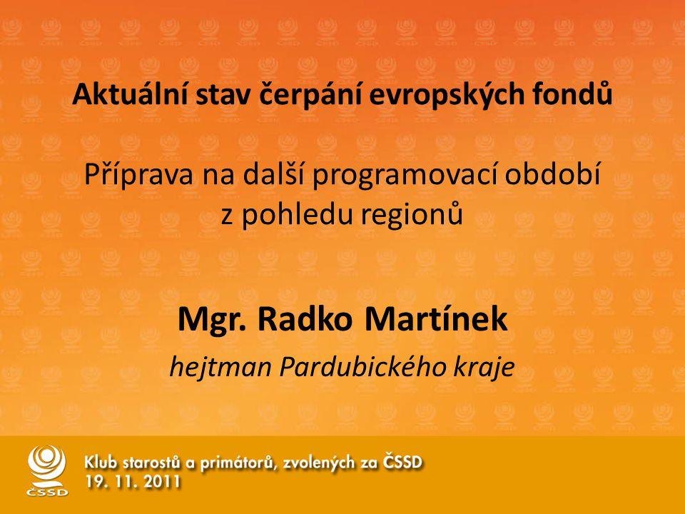 Aktuální stav čerpání evropských fondů Příprava na další programovací období z pohledu regionů Mgr.