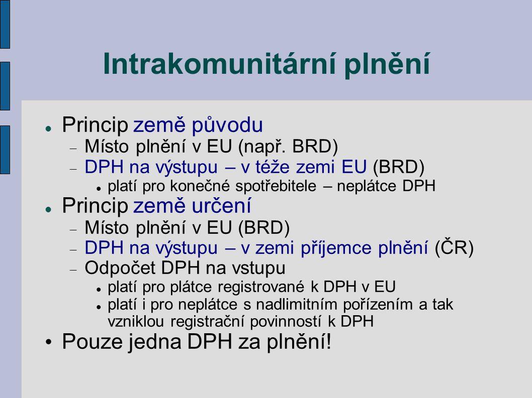 Intrakomunitární plnění Princip země původu  Místo plnění v EU (např. BRD)  DPH na výstupu – v téže zemi EU (BRD) platí pro konečné spotřebitele – n