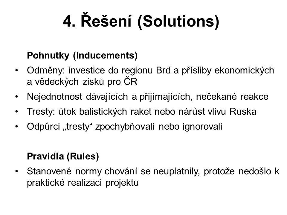 4. Řešení (Solutions) Pohnutky (Inducements) Odměny: investice do regionu Brd a přísliby ekonomických a vědeckých zisků pro ČR Nejednotnost dávajících