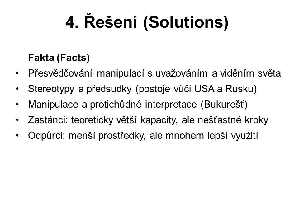 4. Řešení (Solutions) Fakta (Facts) Přesvědčování manipulací s uvažováním a viděním světa Stereotypy a předsudky (postoje vůči USA a Rusku) Manipulace