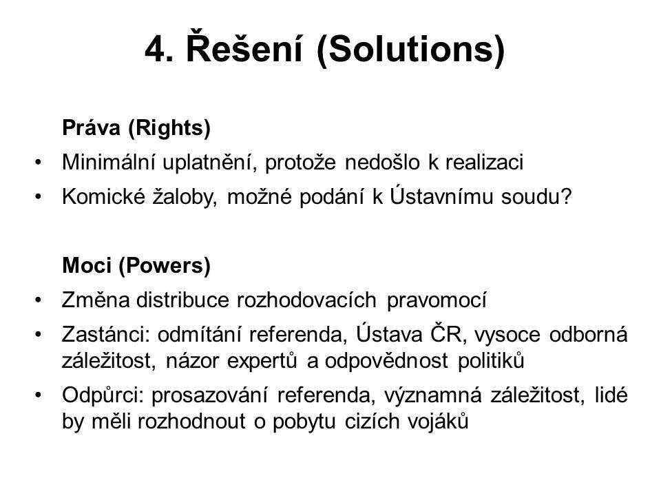 4. Řešení (Solutions) Práva (Rights) Minimální uplatnění, protože nedošlo k realizaci Komické žaloby, možné podání k Ústavnímu soudu? Moci (Powers) Zm