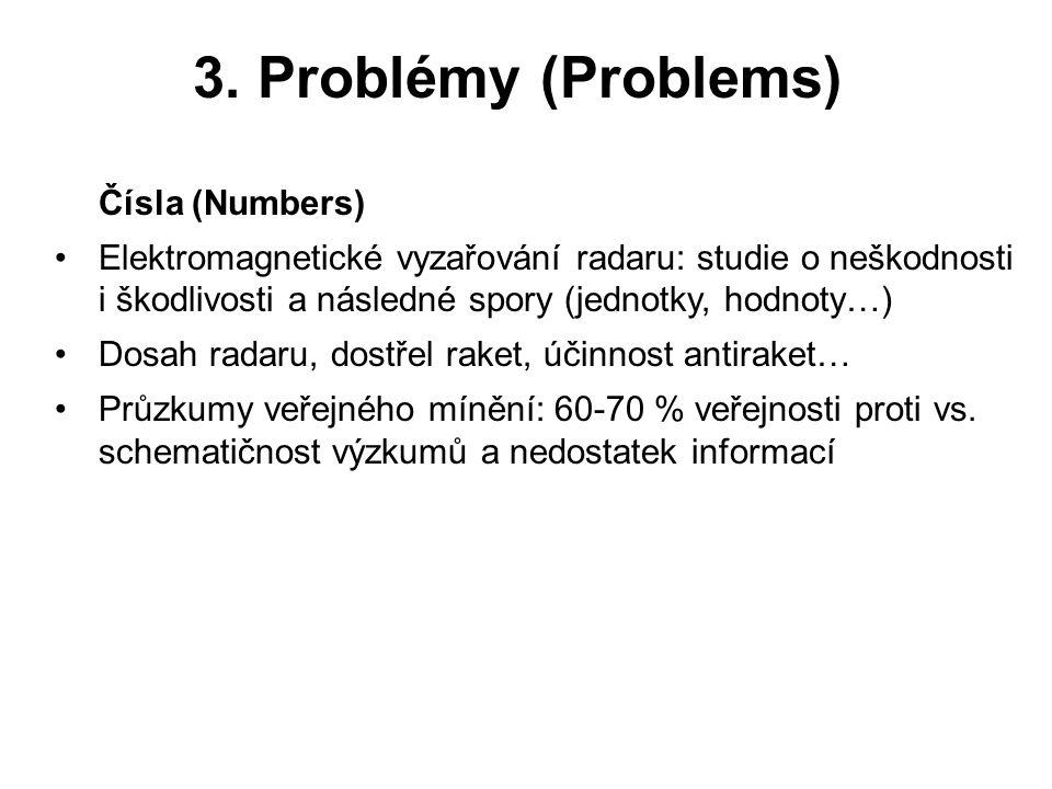 3. Problémy (Problems) Čísla (Numbers) Elektromagnetické vyzařování radaru: studie o neškodnosti i škodlivosti a následné spory (jednotky, hodnoty…) D