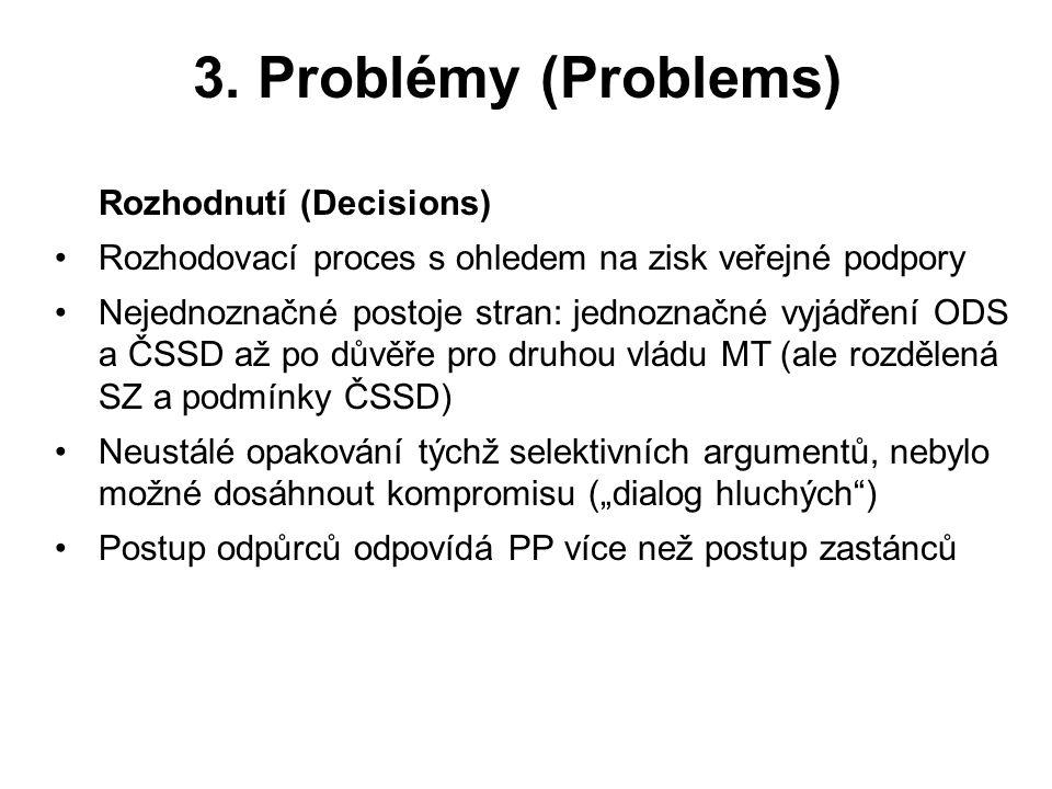 3. Problémy (Problems) Rozhodnutí (Decisions) Rozhodovací proces s ohledem na zisk veřejné podpory Nejednoznačné postoje stran: jednoznačné vyjádření