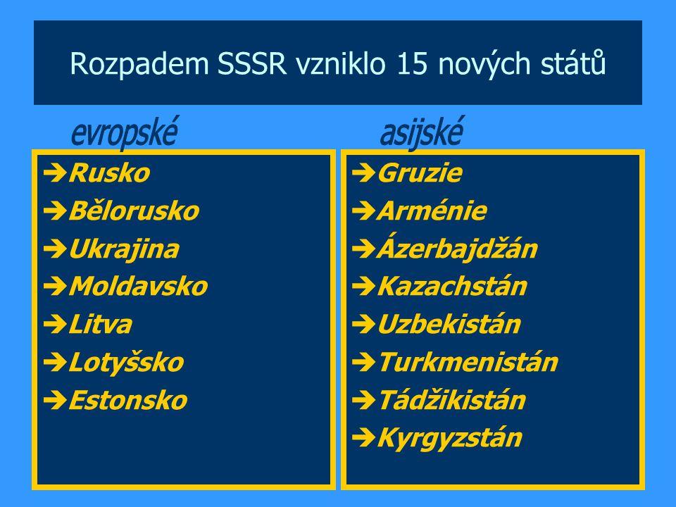 Rozpadem SSSR vzniklo 15 nových států  Rusko  Bělorusko  Ukrajina  Moldavsko  Litva  Lotyšsko  Estonsko  Gruzie  Arménie  Ázerbajdžán  Kaza