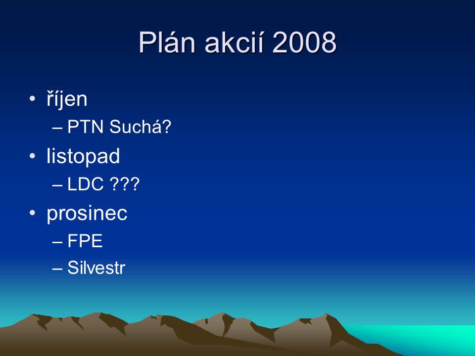 Plán akcií 2008 říjen –PTN Suchá listopad –LDC prosinec –FPE –Silvestr