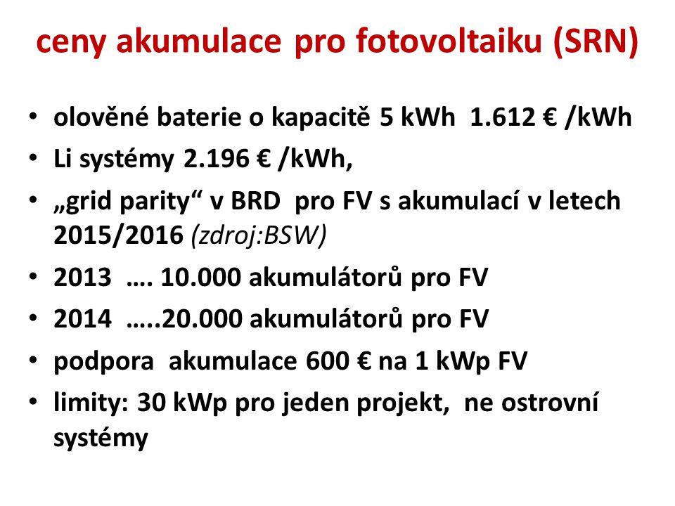 """ceny akumulace pro fotovoltaiku (SRN) olověné baterie o kapacitě 5 kWh 1.612 € /kWh Li systémy 2.196 € /kWh, """"grid parity"""" v BRD pro FV s akumulací v"""