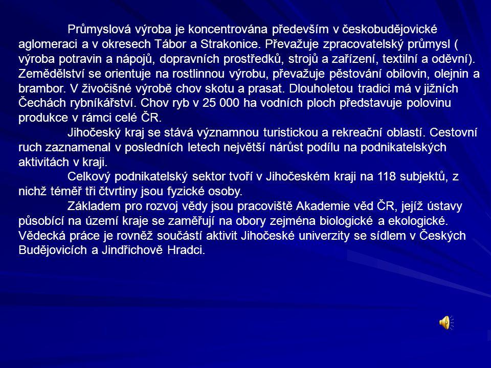 Průmyslová výroba je koncentrována především v českobudějovické aglomeraci a v okresech Tábor a Strakonice. Převažuje zpracovatelský průmysl ( výroba