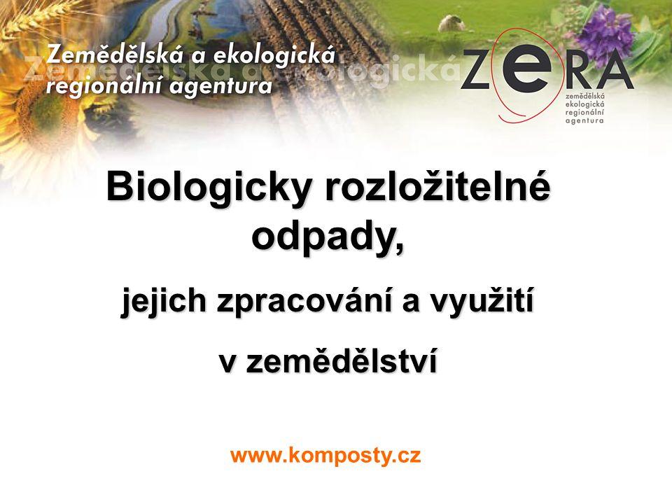 ZERA Zemědělská a ekologická regionální agentura ZERA Zemědělská a ekologická regionální agentura Nezisková a nevládní organizace zaměřená na: Výzkum Výzkum Poradenství Poradenství Projektování a realizaci kompostáren Projektování a realizaci kompostáren Vzdělávání Vzdělávání Certifikaci osob v odbornosti biologického zpracování odpadu ( ČIA ) Certifikaci osob v odbornosti biologického zpracování odpadu ( ČIA ) Rekvalifikaci osob v odbornost biologického zpracování odpadu ( MŠMT ) Rekvalifikaci osob v odbornost biologického zpracování odpadu ( MŠMT ) www.komposty.cz