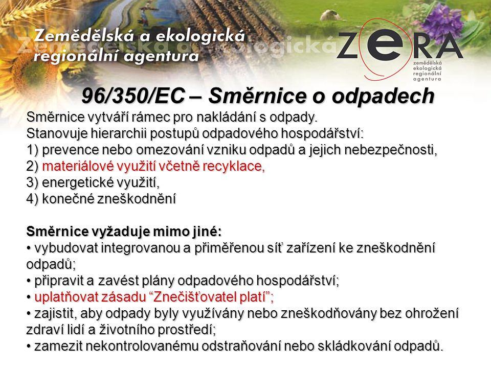 96/350/EC – Směrnice o odpadech 96/350/EC – Směrnice o odpadech Směrnice vytváří rámec pro nakládání s odpady. Stanovuje hierarchii postupů odpadového