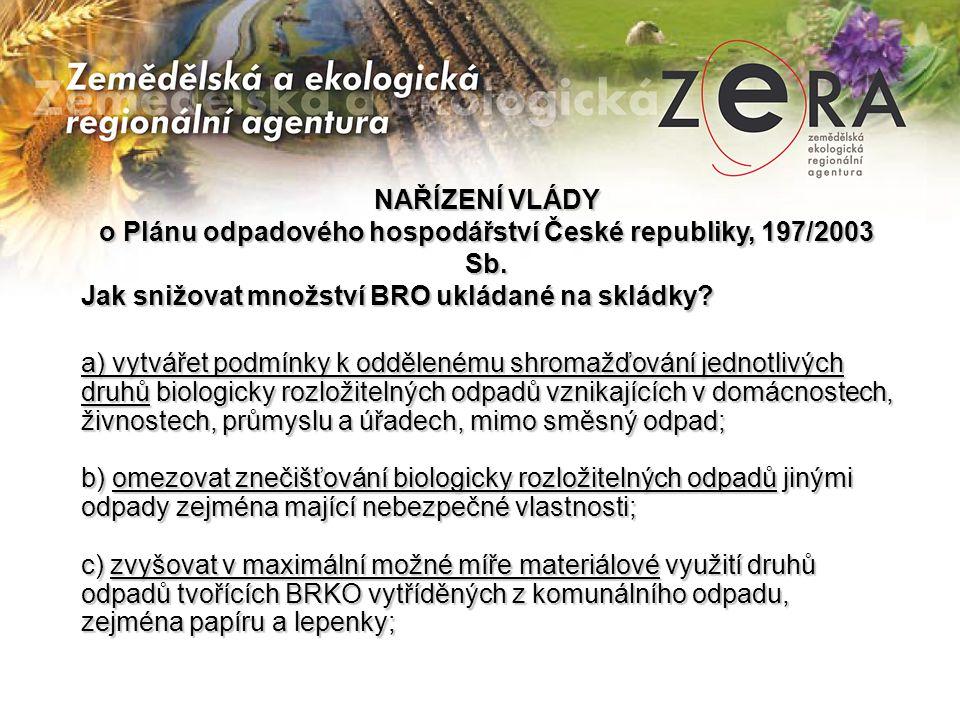 NAŘÍZENÍ VLÁDY o Plánu odpadového hospodářství České republiky, 197/2003 Sb. Jak snižovat množství BRO ukládané na skládky? a) vytvářet podmínky k odd