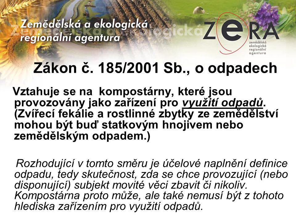 Zákon č. 185/2001 Sb., o odpadech Vztahuje se na kompostárny, které jsou provozovány jako zařízení pro využití odpadů. (Zvířecí fekálie a rostlinné zb