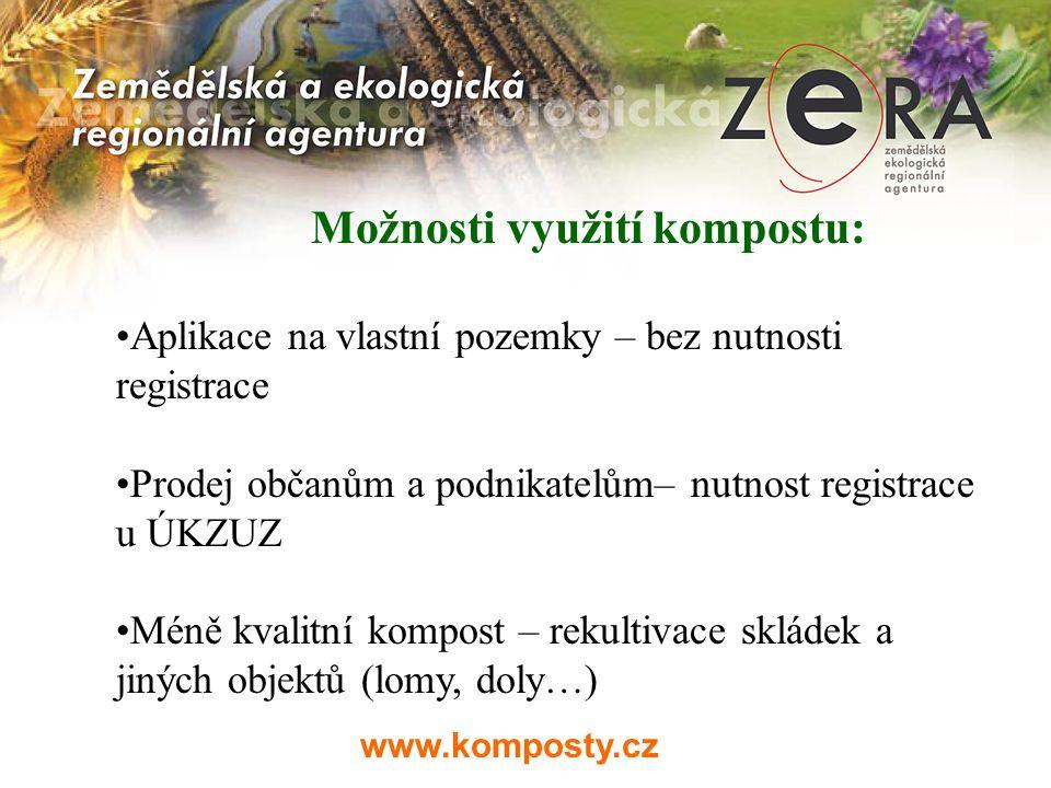 www.komposty.cz Možnosti využití kompostu: Aplikace na vlastní pozemky – bez nutnosti registrace Prodej občanům a podnikatelům– nutnost registrace u Ú