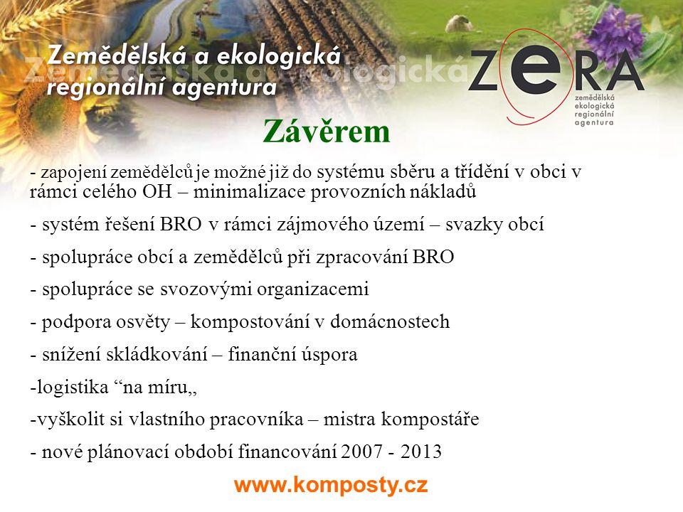 www.komposty.cz Závěrem - zapojení zemědělců je možné již do systému sběru a třídění v obci v rámci celého OH – minimalizace provozních nákladů - syst
