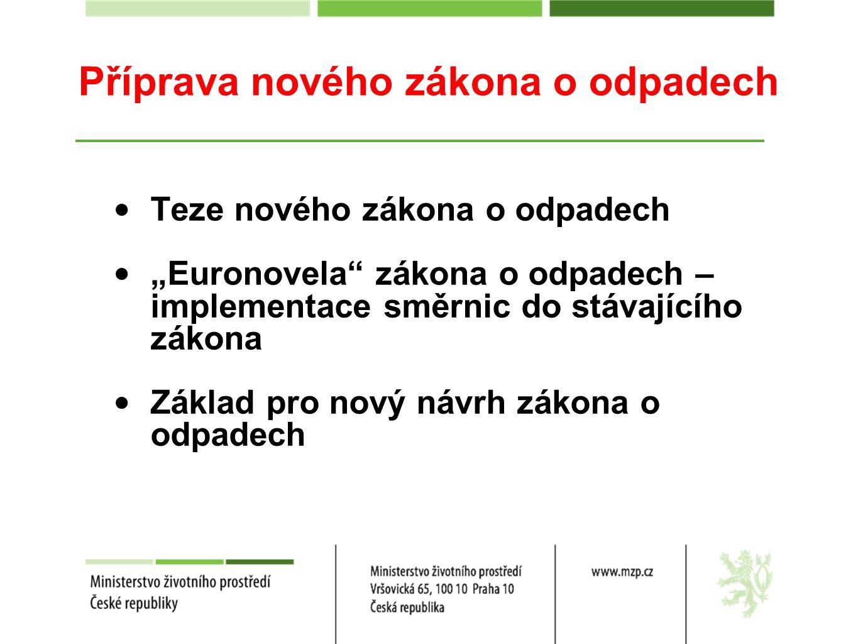 """Příprava nového zákona o odpadech Teze nového zákona o odpadech """"Euronovela"""" zákona o odpadech – implementace směrnic do stávajícího zákona Základ pro"""