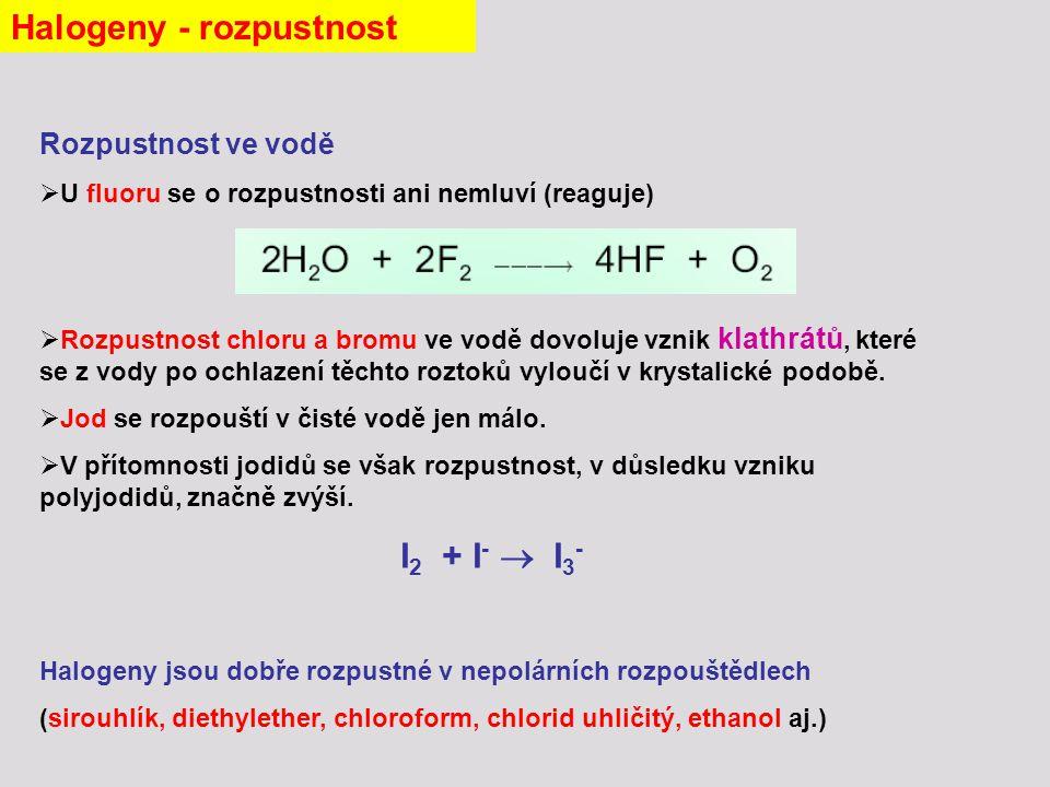 Rozpustnost ve vodě  U fluoru se o rozpustnosti ani nemluví (reaguje)  Rozpustnost chloru a bromu ve vodě dovoluje vznik klathrátů, které se z vody po ochlazení těchto roztoků vyloučí v krystalické podobě.