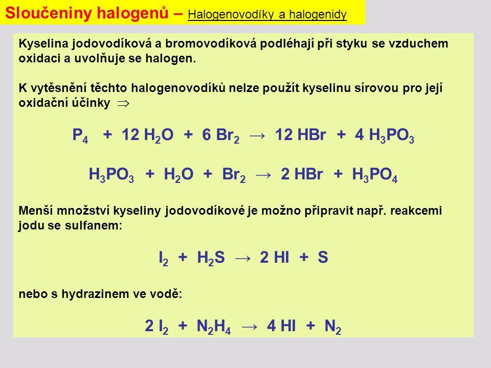 Sloučeniny halogenů – Halogenovodíky a halogenidy Kyselina jodovodíková a bromovodíková podléhají při styku se vzduchem oxidaci a uvolňuje se halogen.
