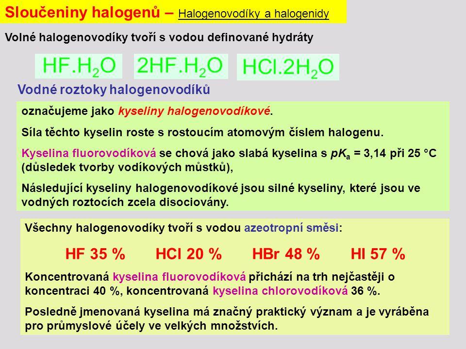 Sloučeniny halogenů – Halogenovodíky a halogenidy označujeme jako kyseliny halogenovodíkové.