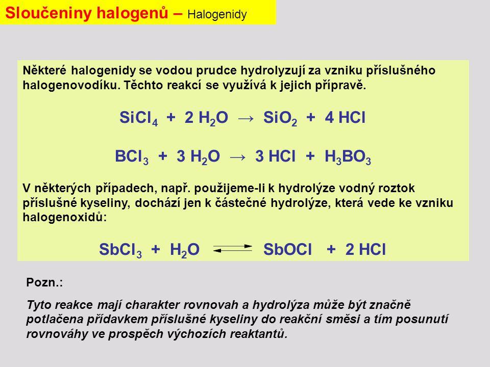 Některé halogenidy se vodou prudce hydrolyzují za vzniku příslušného halogenovodíku.