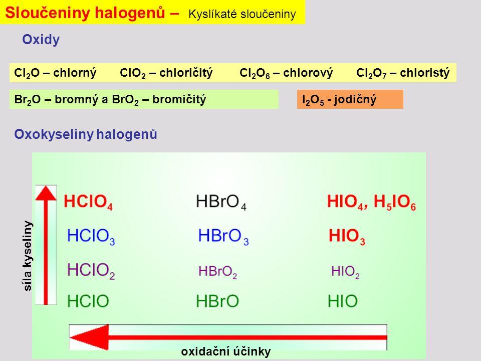 Sloučeniny halogenů – Kyslíkaté sloučeniny Cl 2 O – chlorný ClO 2 – chloričitý Cl 2 O 6 – chlorový Cl 2 O 7 – chloristý Oxokyseliny halogenů Br 2 O – bromný a BrO 2 – bromičitýI 2 O 5 - jodičný Oxidy síla kyseliny oxidační účinky