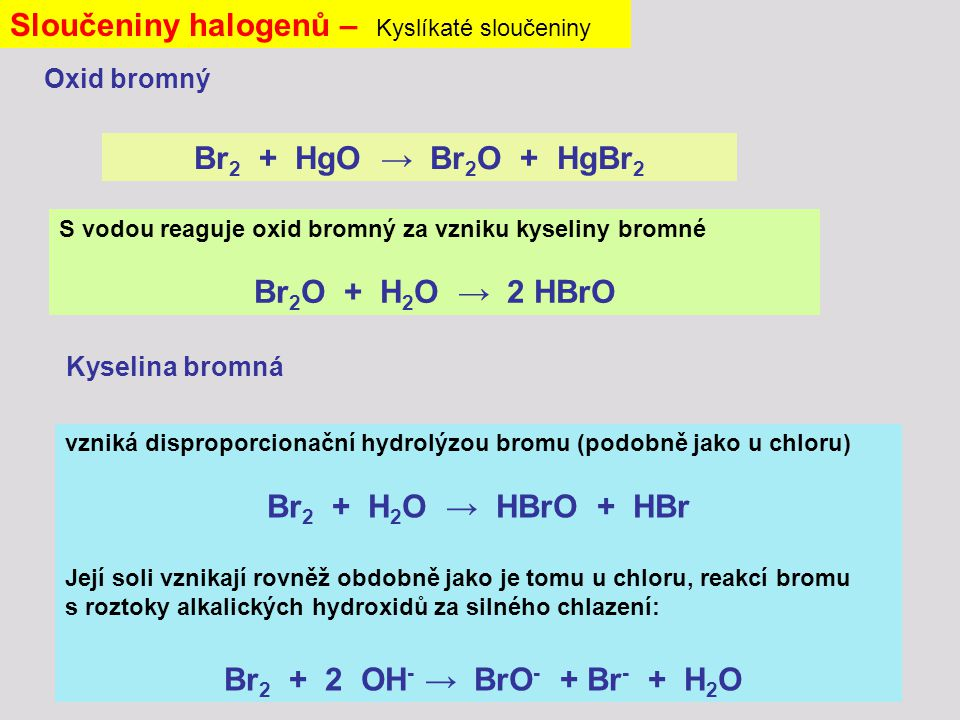 vzniká disproporcionační hydrolýzou bromu (podobně jako u chloru) Br 2 + H 2 O → HBrO + HBr Její soli vznikají rovněž obdobně jako je tomu u chloru, reakcí bromu s roztoky alkalických hydroxidů za silného chlazení: Br 2 + 2 OH - → BrO - + Br - + H 2 O Sloučeniny halogenů – Kyslíkaté sloučeniny Br 2 + HgO → Br 2 O + HgBr 2 Oxid bromný Kyselina bromná S vodou reaguje oxid bromný za vzniku kyseliny bromné Br 2 O + H 2 O → 2 HBrO