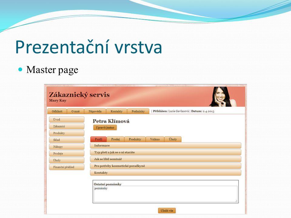 Prezentační vrstva Master page