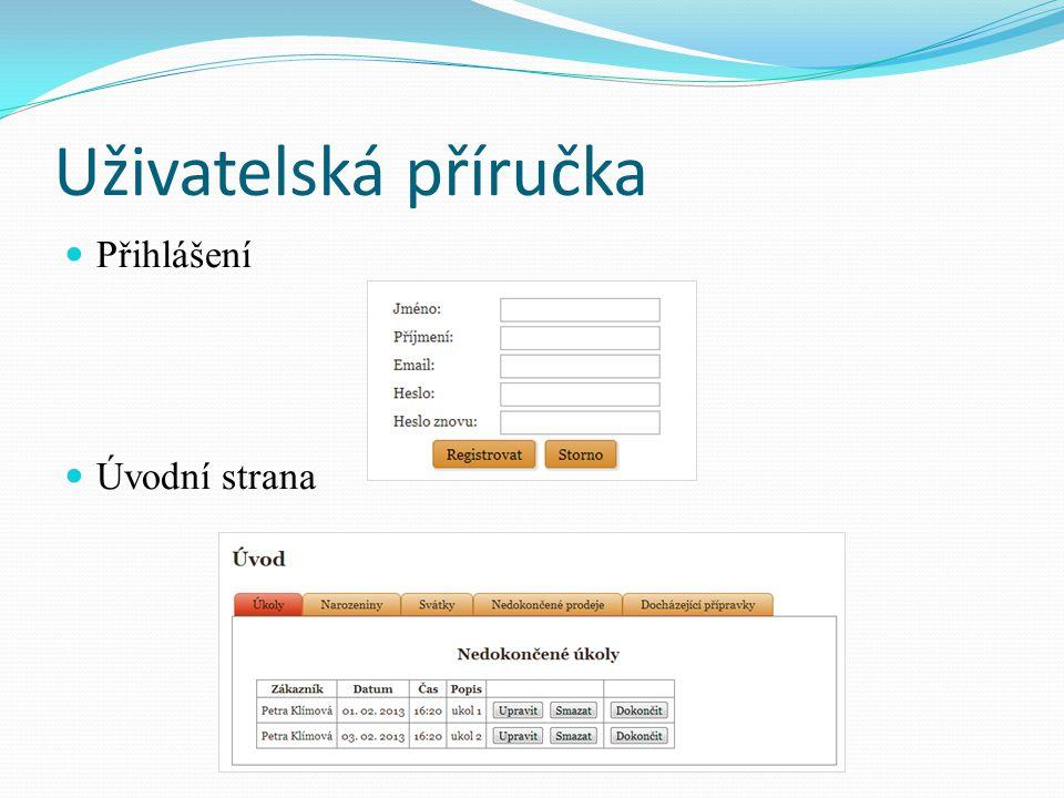 Uživatelská příručka Přihlášení Úvodní strana