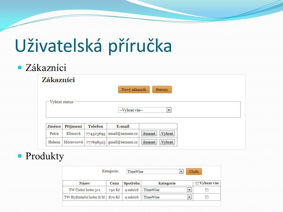 Uživatelská příručka Zákazníci Produkty
