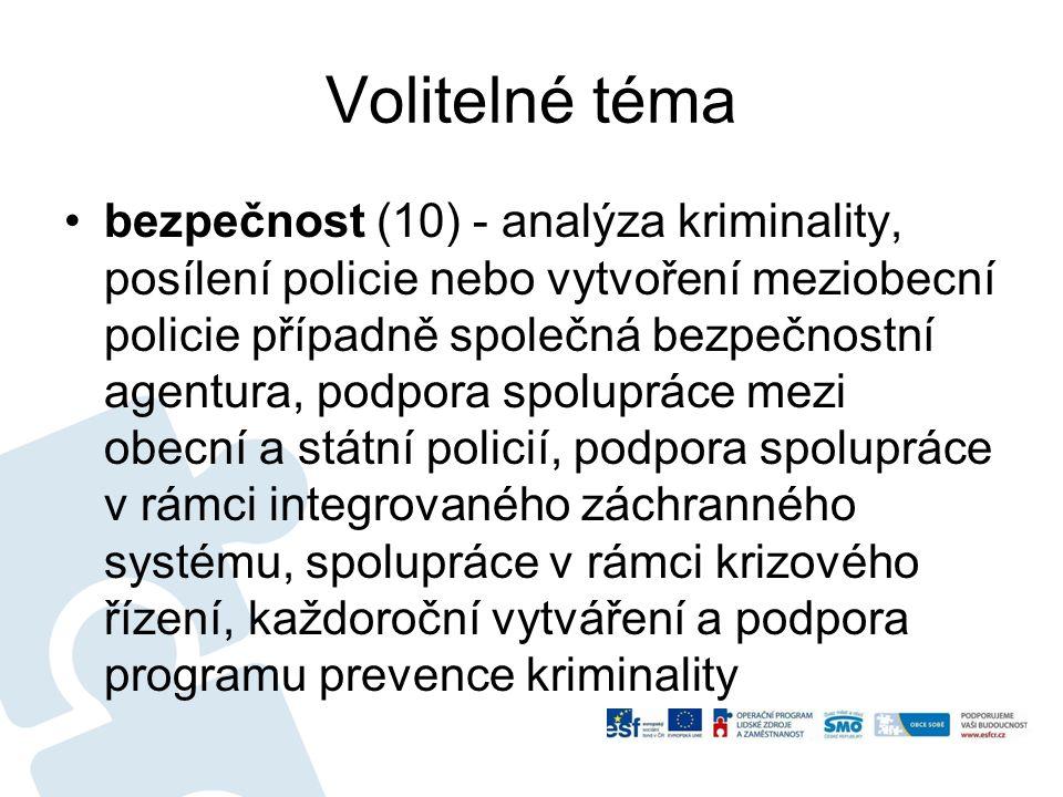 Volitelné téma bezpečnost (10) - analýza kriminality, posílení policie nebo vytvoření meziobecní policie případně společná bezpečnostní agentura, podp