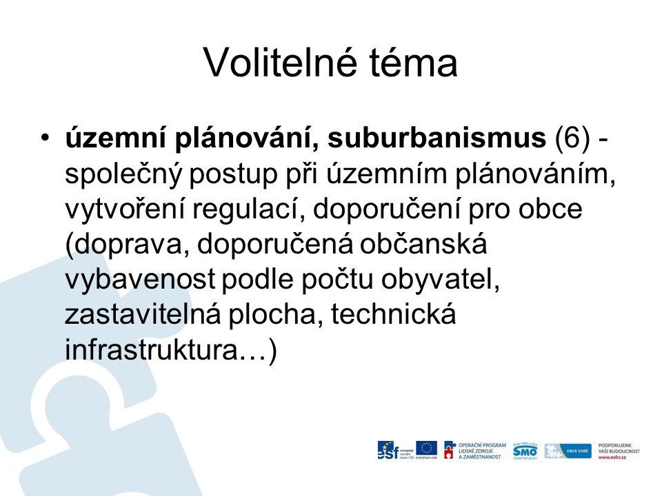 Volitelné téma územní plánování, suburbanismus (6) - společný postup při územním plánováním, vytvoření regulací, doporučení pro obce (doprava, doporuč