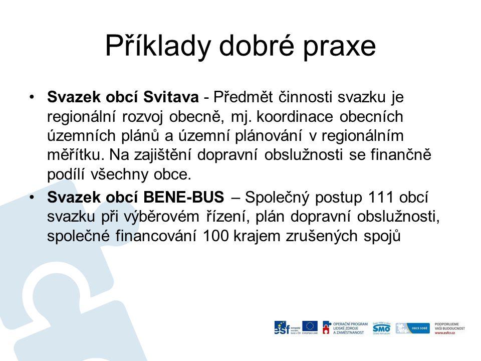 Příklady dobré praxe Svazek obcí Svitava - Předmět činnosti svazku je regionální rozvoj obecně, mj. koordinace obecních územních plánů a územní plánov