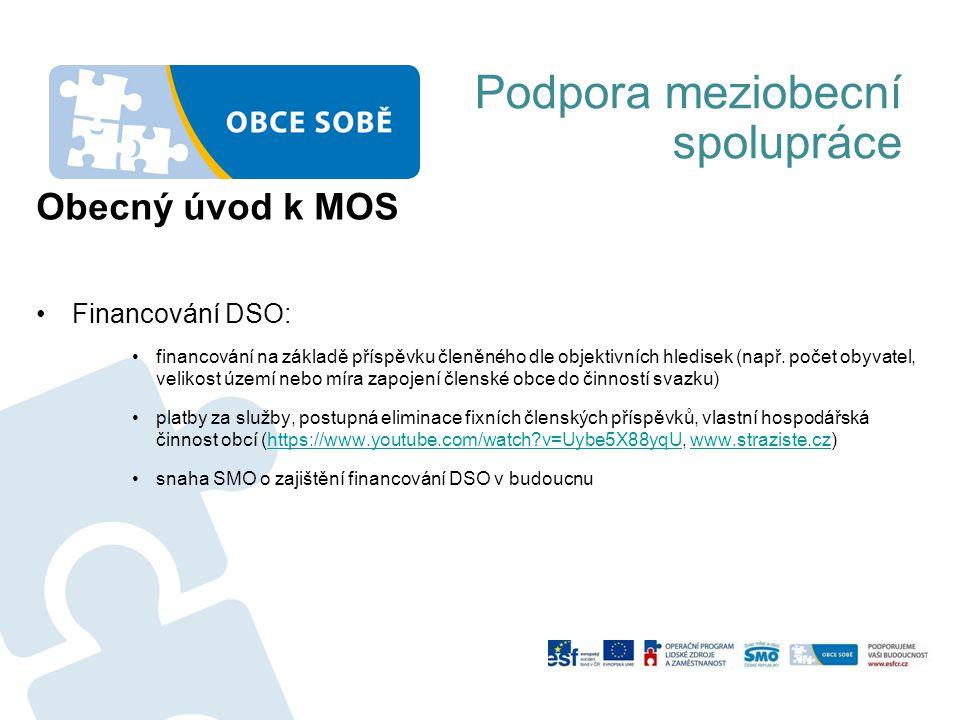 Podpora meziobecní spolupráce Obecný úvod k MOS Financování DSO: financování na základě příspěvku členěného dle objektivních hledisek (např. počet oby