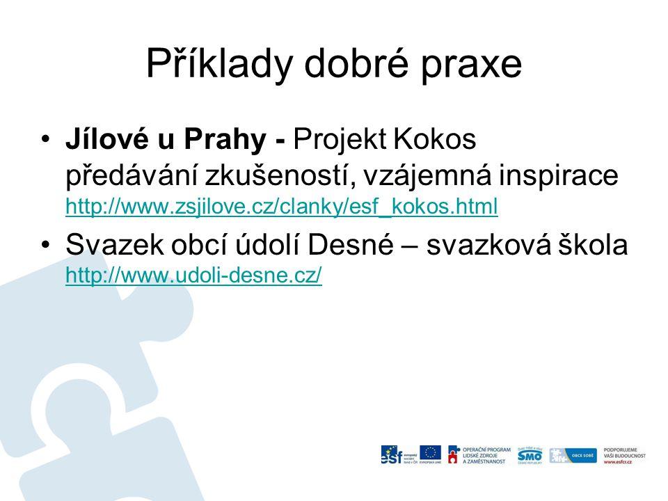 Příklady dobré praxe Jílové u Prahy - Projekt Kokos předávání zkušeností, vzájemná inspirace http://www.zsjilove.cz/clanky/esf_kokos.html http://www.z