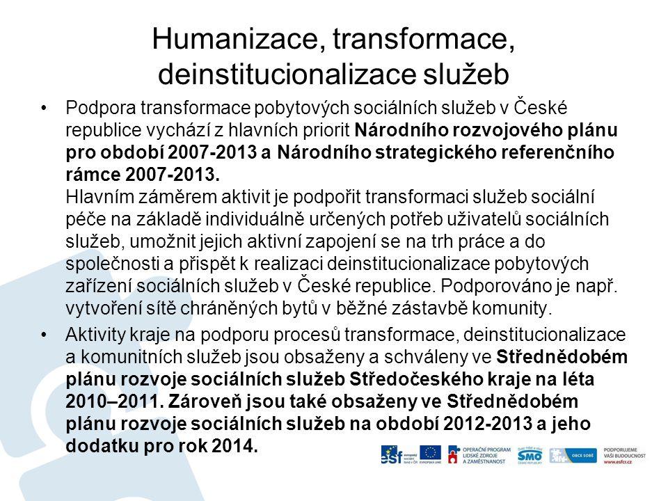 Humanizace, transformace, deinstitucionalizace služeb Podpora transformace pobytových sociálních služeb v České republice vychází z hlavních priorit N