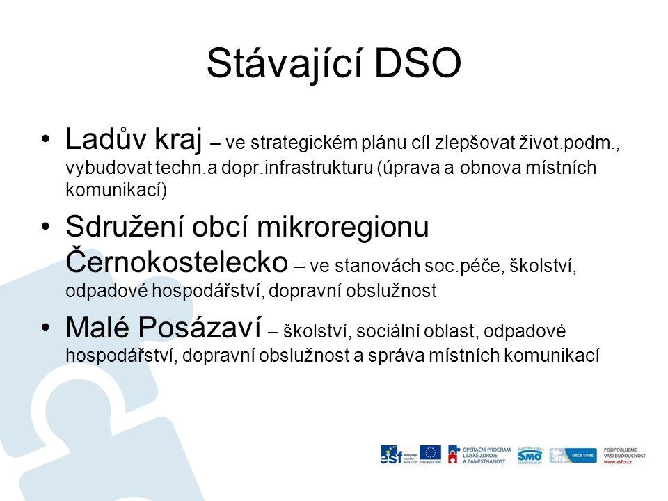 Stávající DSO Ladův kraj – ve strategickém plánu cíl zlepšovat život.podm., vybudovat techn.a dopr.infrastrukturu (úprava a obnova místních komunikací