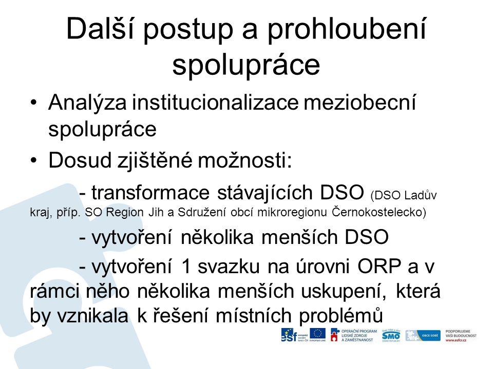Další postup a prohloubení spolupráce Analýza institucionalizace meziobecní spolupráce Dosud zjištěné možnosti: - transformace stávajících DSO (DSO La