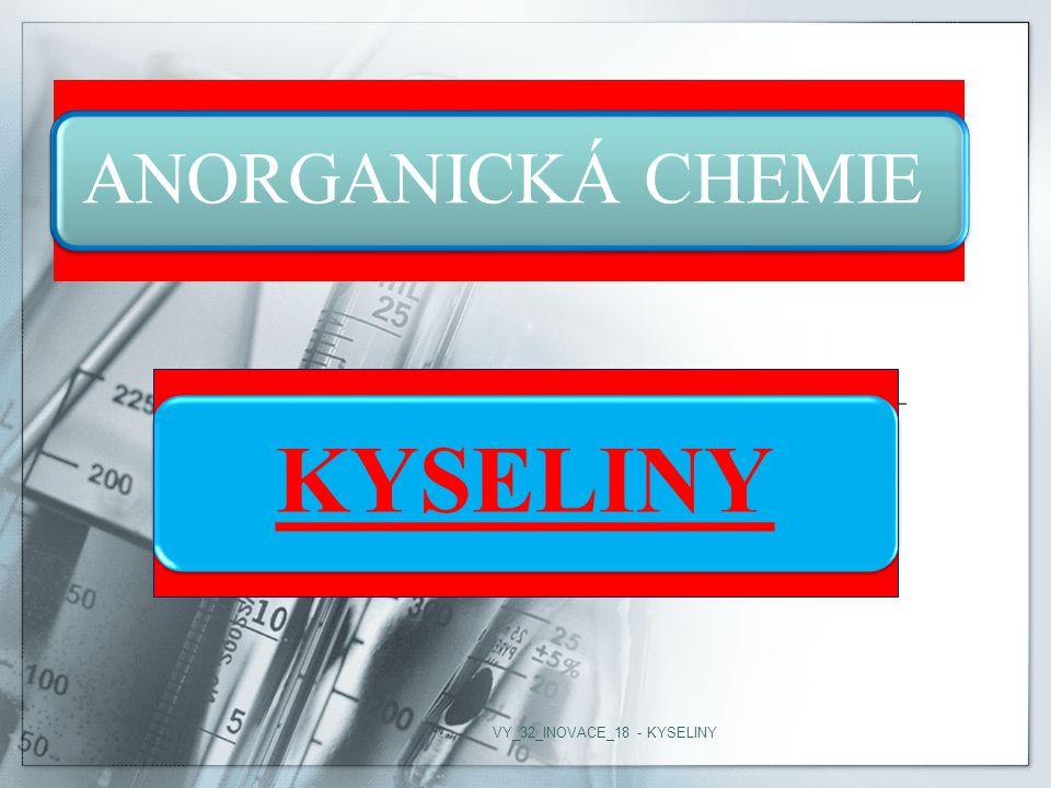 ANORGANICKÁ CHEMIE KYSELINY VY_32_INOVACE_18 - KYSELINY