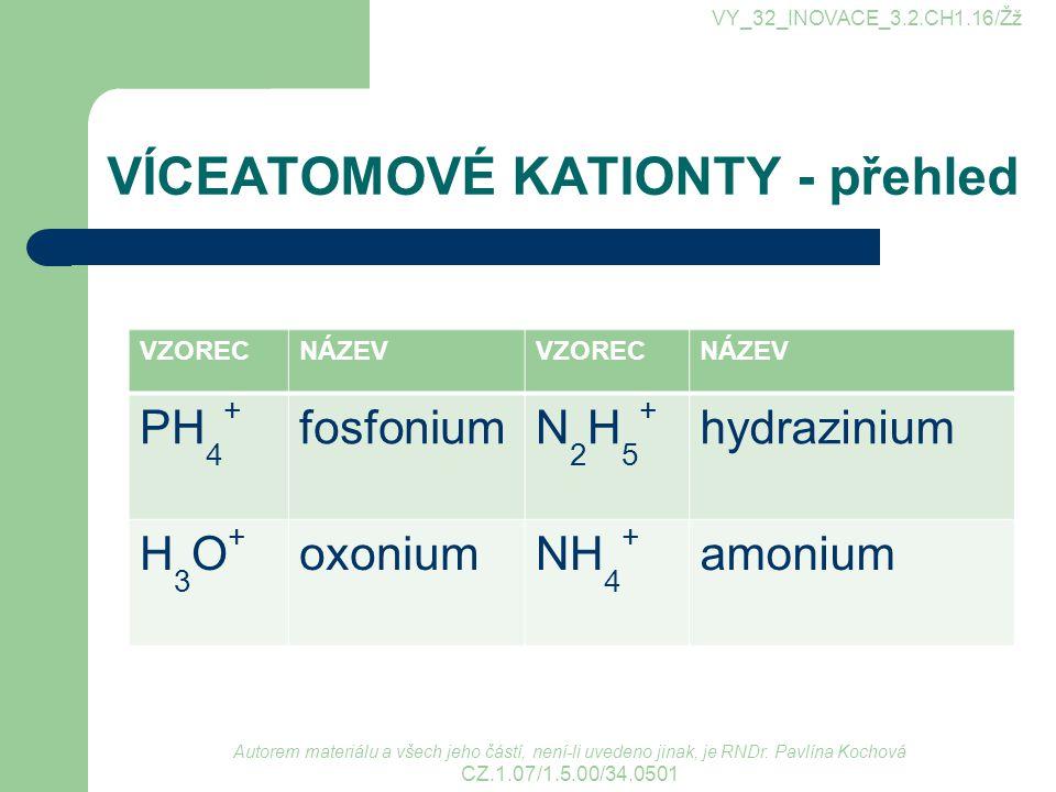 VÍCEATOMOVÉ KATIONTY - v názvech pouze amonium a jeho deriváty mají v podvojných názvech sloučenin zakončení –ný ostatní jsou vždy v genitivu.