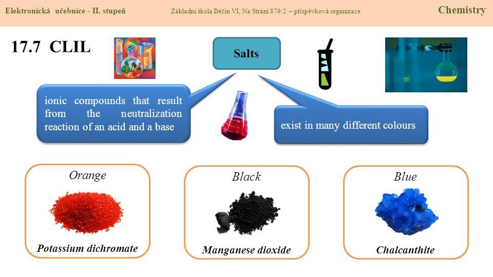 17.7 CLIL Elektronická učebnice - II. stupeň Základní škola Děčín VI, Na Stráni 879/2 – příspěvková organizace Chemistry Salts ionic compounds that re