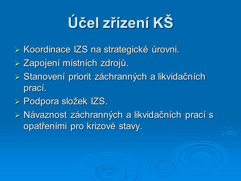 Účel zřízení KŠ  Koordinace IZS na strategické úrovni.  Zapojení místních zdrojů.  Stanovení priorit záchranných a likvidačních prací.  Podpora sl