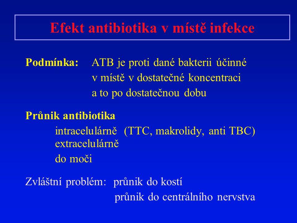Efekt antibiotika v místě infekce Podmínka: ATB je proti dané bakterii účinné v místě v dostatečné koncentraci a to po dostatečnou dobu Průnik antibio