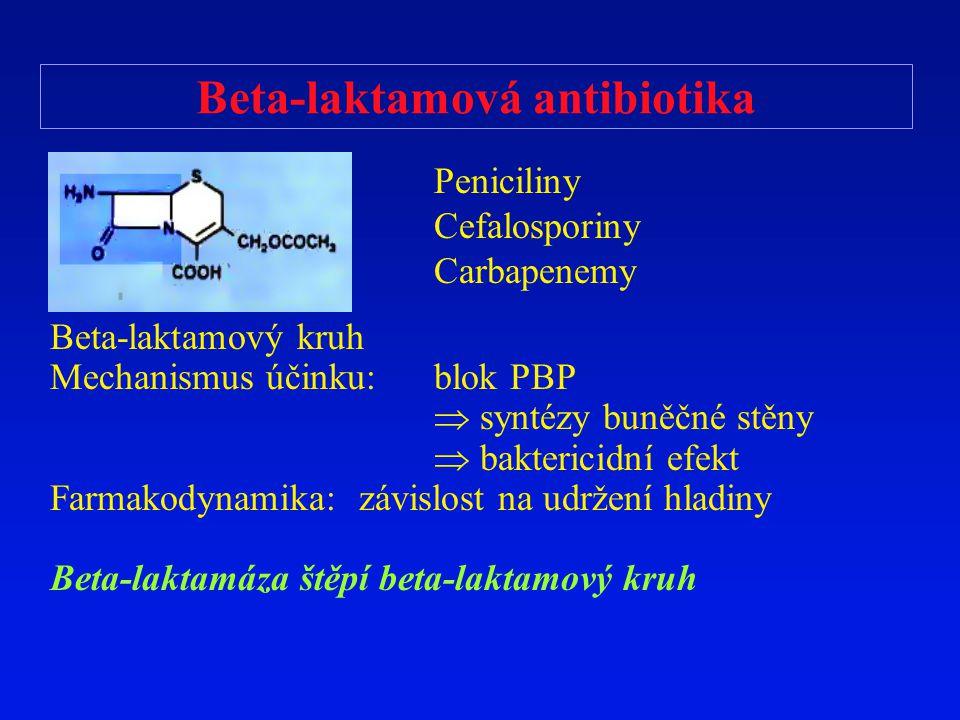 Beta-laktamová antibiotika Beta-laktamový kruh Mechanismus účinku: blok PBP  syntézy buněčné stěny  baktericidní efekt Farmakodynamika: závislost na
