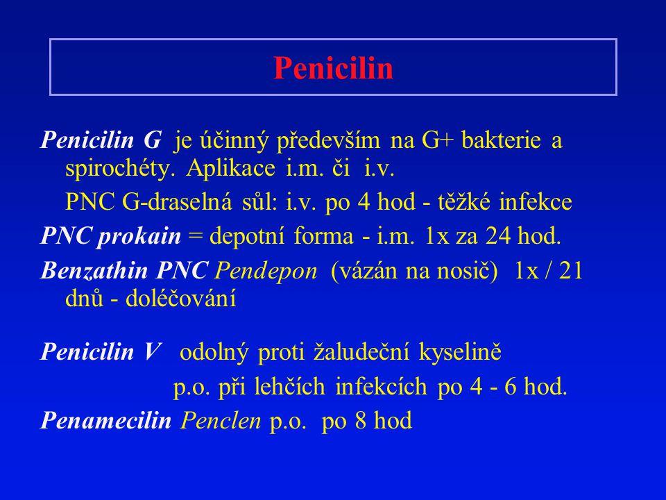 Penicilin Penicilin G je účinný především na G+ bakterie a spirochéty. Aplikace i.m. či i.v. PNC G-draselná sůl: i.v. po 4 hod - těžké infekce PNC pro