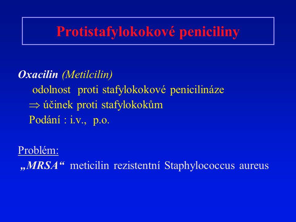 Protistafylokokové peniciliny Oxacilin (Metilcilin) odolnost proti stafylokokové penicilináze  účinek proti stafylokokům Podání : i.v., p.o. Problém: