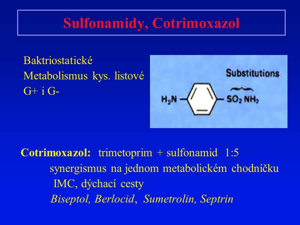 Sulfonamidy, Cotrimoxazol Baktriostatické Metabolismus kys. listové G+ i G- Cotrimoxazol: trimetoprim + sulfonamid 1:5 synergismus na jednom metabolic